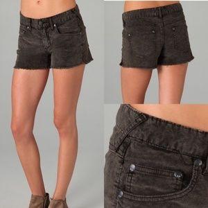Free People Black Corduroy Raw Edge Hem Shorts